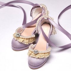1/3 Purple retro princess heel sandal