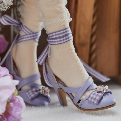 1/3 Lolita style X straps high heel shoes - Purple