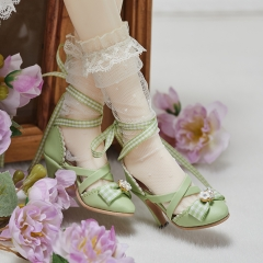 1/3 Lolita style X straps high heel shoes - Green
